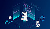 Isometric 3D Robotics Courses Concept. Modern Robot Among Program Codes And Infographic. Possibility Of Control, Programming And Experimenting Of The Education Project. Cartoon Vector Illustration