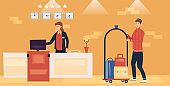 Hotel Service And Staff Concept. Smiling Porter is Carrying Luggage On the Trolley And Friendly Woman Receptionist Is Standing At The Desk Typing On Computer. Cartoon Flat Style Vector illustration