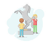 Concept Of Modern Art. Friends Visit Art Gallery, Admire Of Sculpture. Boys Make Pictures With Camera, Examine Creative Artworks, And Museum Exhibit. Cartoon Linear Outline Flat Vector Illustration