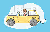 Concept Of Air Pollution By Exhaust Emission, Environmental Protection. Man Riding Car In The City Street. Smoke Is Going Out From Exhaust Pipe Of Car. Cartoon Linear Outline Flat Vector Illustration