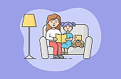 Concept Of Family Spending Time. Mother Is Reading Book To Little Daughter. Girl Listening Fairy Tale, Sitting On Sofa With Mom And Teddy Bear. Cartoon Linear Outline Flat Style. Vector Illustration