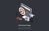 Business Planning And Marketing Strategy Concept. Arrow in The Target On Web Screen With Infographics. Chessmen, Cogs And Man In White Shirt Pointing At The Screen. 3d Isometric Vector Illustration