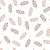 Seamless pattern with hand drawn beige leaves on white background. Floral organic background.