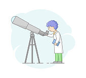 Concept Of Astronomical Observation And Science. Professor Astronomer Looking Through Telescope. Scientist Makes Researches Of Space And Make Notes. Cartoon Linear Outline Flat Vector Illustration