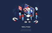 Isometric Vector Composition In Cartoon 3D Style Of Referral Marketing Concept. Illustration Of Network Friend Refer Program Strategy. Modern Online Business Partership. People Working Near Computer