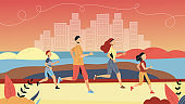 Concept Of Sport And Leading Healthy Lifestyle. Family Is Running Marathon Together In Park. Father, Mother, Son And Daughter Jogging And Exercising Together. Cartoon Flat Style. Vector Illustration