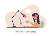 Podcast concept. Woman in headphones at table recording audio broadcast.