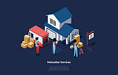 House Moving And Relocation Services Concept 3D Illustration In Cartoon Style With Group Of People. Isometric Vector Composition Of Staff Carrying Cardboard Boxes From Building To Truck Or Conversely