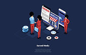 Isometric Vector Illustration Of Earned Or Owned Media Concept. 3D Composition In Cartoon Style, Internet Marketing And Advertisement Online. People Standing Near Devices With Information On Screens