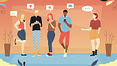 Lack of Real Communication Concept. Male And Female Characters Using Gadgets To Chat In Social Media. Men And Women Send Emails, Make Posts And Give Feedbacks. Cartoon Flat Style. Vector Illustration