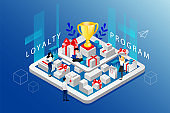 Isometric Loyalty Program And Cashback Concept. Website Landing Page. People Develop Strategy Of Reward Program For Customers Standing On Big Tablet With Purchases. Web Page 3D Vector Illustration