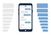 Message bubbles. Design template for messenger chat or website. Modern vector illustration in flat style.