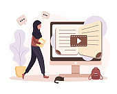 Online education. Flat design concept of training and video tutorials. Student learning at home. Vector illustration for website banner, marketing material, presentation template, online advertising.