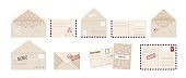 Envelope and greeting card. Cartoon invitation letter and postcard set with post stamps. Square covers front and back, open and close postal express delivery. Vector isolated collection