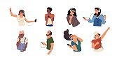 People listen to music. Happy cartoon characters dancing and listen music via smartphone. Vector young diverse persons with headphones