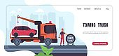 Car towing landing page. Automobile emergency service and roadside assistance. Website interface template with button, header and text. Truck with crane and auto in back, vector mockup