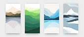 Watercolor mountains. Minimalist landscape posters. Hand drawn rocks and hills, reflections in water. Collection of pictures in Asian style with colors gradient, vector panorama set