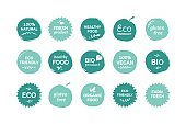Eco food label. Fresh and healthy food quality stickers, vegan product and natural farming food badges. Vector organic logo set