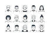 Avatar line icons. Male and female hand drawn cartoon persons, flat boys and girls doodle characters. Vector modern trendy set