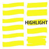 Highlight Yellow Marker vector set. Highlight Yellow Marker isolated background. Highlight Yellow Marker stroke brush