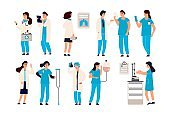 Doctor characters. Cartoon trendy hand draw male and female hospital staff, people dressed in professional clothes. Vector set