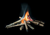 Camp fire with burning dry branches pile on dark