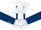 Two businessman shaking hands by agreement. With a background as a world figure.