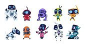 Modern robots. Cartoon friendly mascots. Personal assistants. Collection of mechanical toys. Artificial intelligence or scientific innovation technologies. Vector automation machines