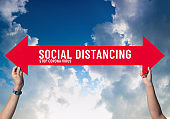 Social distancing,holding sign with message about social distancing ,Space between people to avoid spreading COVID-19 Virus on blue sky,New normal