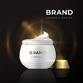 Realistic cosmetic package design. Beauty product 3D mockup cream container. Vector illustration template thermal care cream essence with vitamin