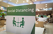 Social distancing,Space between people to avoid spreading COVID-19 Virus,Social distancing signson table at restaurant, food court