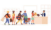Shopping queue. People standing in line at cashier. Men and women in retail store, at mall or supermarket. Customers buying garments and presents. Vector sellers and buyers concept