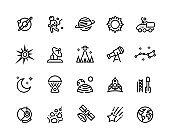 Space line icons. Planets and stars infographic elements with astronaut alien rocket and other astronomy and cosmos vector symbols