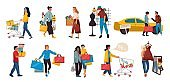 Shopping people. Trendy family and couples cartoon characters at mall shopping, happy cute persons at retail stores. Vector mall scenes