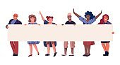People on demonstration. Persons holding empty horizontal banner with copy space, happy flat characters on meeting. Political multicultural activist manifestation vector illustration