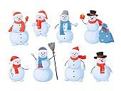 Snowman. Cartoon Christmas characters with happy faces, sculpture for winter outdoor activity. Snow and ice figure from white balls with scarfs and hats, carrot nose vector isolated set