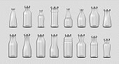 Glass bottles. Realistic empty 3D containers for milk, water, coffee and juice advertising. Collection closed packages in various forms mockup. Vector isolated transparent jar template set