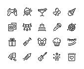 1909.m30.i020.n048.P.c25.1181297344 Party line icons. Birthday celebration with gift balloons BBQ music and fireworks, celebration with food and cocktails. Vector set
