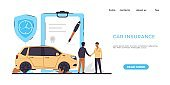 Car insurance landing page. Risks protection. Website interface design with buttons and text. Payment of money after road incidents, auto disasters or vehicle theft. Vector online service