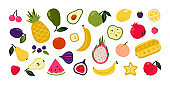 Cartoon fruits. Doodle summer berries, watermelon orange lemon, garden vegan organic product. Cute exotic delicious for wrapping paper, textile, tableware. Vector isolated tropical set