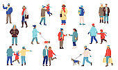 Winter people. Men and women in winter clothes. Young and old human walking outdoor, city lifestyle isolated elements. Cold season holidays activities with children and dogs vector set