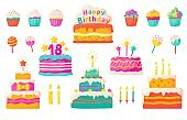 Birthday cakes. Party celebration cupcake with candles and invitation, colorful and chocolate flat cakes. Vector set