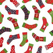 Christmas socks pattern. Seamless texture with winter clothing elements and ornaments. Vector New year and Christmas holidays pattern