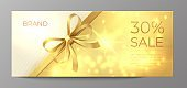 Voucher gold card. Golden ribbon certificate, luxury elegant celebration coupon, discount promotion flyer. Realistic vecor illustration