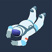 Astronaut. Cartoon cosmonaut drifts in zero gravity space. Spaceman in open cosmos. Galaxy explorer wears spacesuit with helmet. Universe discovery and exploration, vector illustration