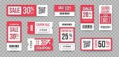 Discount tickets. Sale marketing promotion collection ribbed lottery paper coupon design mockups with barcode, QR-code. Templates with reduced price vector set in red and white colors