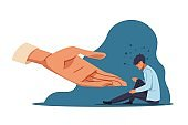 Human help. Anxiety person in depression and supporting hand. Confused man sitting on the floor. Mental health and human empathy. Psychological or psychiatric therapy, vector concept