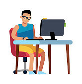 Man working at home. Person in shorts sitting at computer, isolated vector freelance concept
