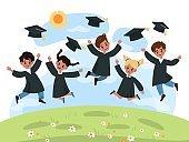 Kids graduation day. Kindergarten cute multiethnic children jump in black cloaks and academic hats. Successful graduate happy boys and girls on summer landscape, vector cartoon concept