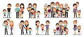 Cartoon family characters. Mother and father, son and daughter, grandparents and uncles, happy family people collection, relationships and parenthood concept, vector flat cartoon set